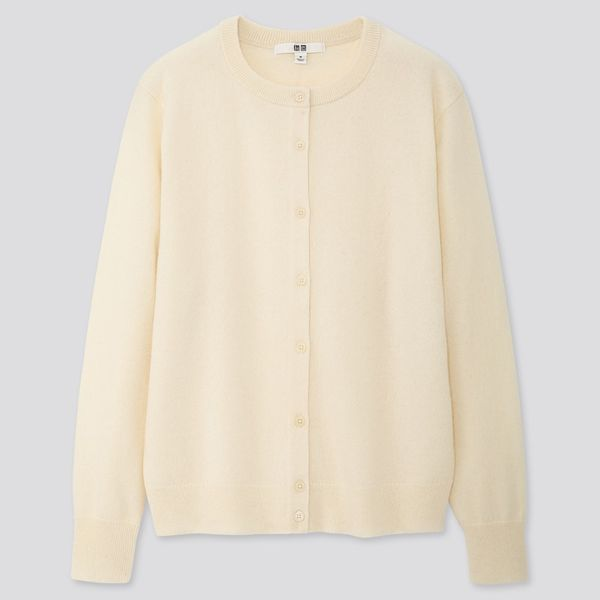 Women Cashmere Crew Neck Cardigan (White)