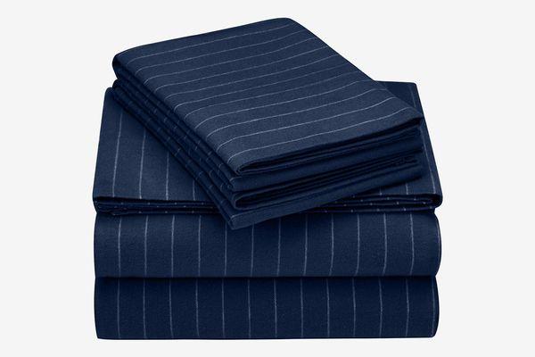 Pinzon 160 Gram Pinstripe Flannel Cotton Bed Sheet Set, Queen, Navy Pinstripe