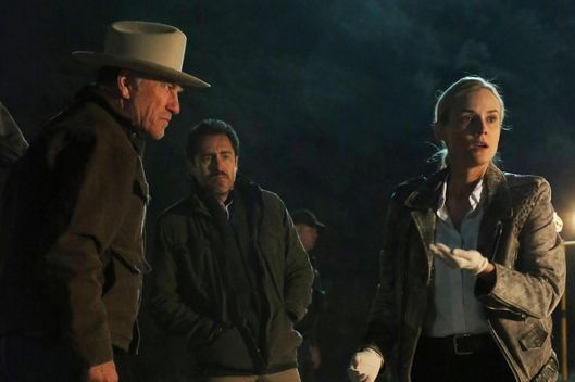 "THE BRIDGE - ""Calaca"" - Episode 2 (Airs, Wednesday, July 17, 10:00 pm e/p) Pictured: (L-R) Ted Levine as Lt. Hank Wade, Demian Bichir as Marco Ruiz, Diane Kruger as Sonya Cross."