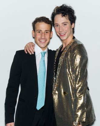 Victor Voronov and figure skater Johnny Weir atend the Alice + Olivia Fall 2012 presentation during Mercedes-Benz Fashion Week at Center 548 on February 13, 2012 in New York City.