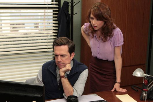 "THE OFFICE -- ""Roy's Wedding"" Episode 902 -- Pictured: (l-r) Ed Helms as Andy Bernard, Ellie Kemper as Erin Hannon."