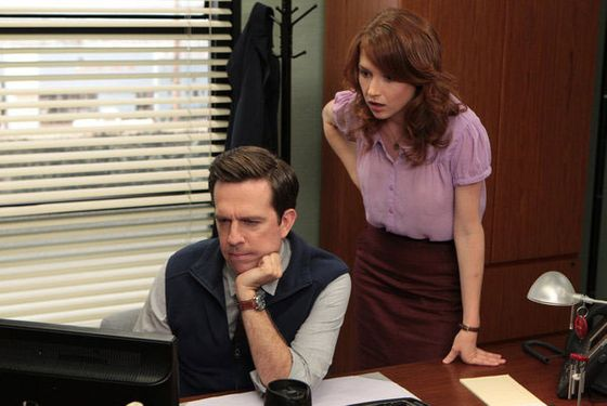 "THE OFFICE -- ""Roy's Wedding"" Episode 902 -- Pictured: (l-r) Ed Helms as Andy Bernard, Ellie Kemper as Erin Hannon"