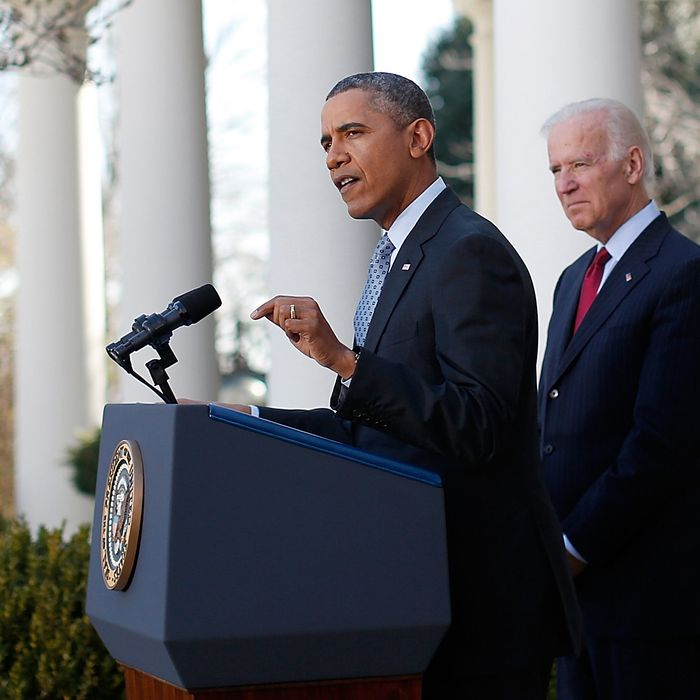 WASHINGTON, DC - APRIL 01: U.S. President Barack Obama speaks on the Affordable Care Act with Vice President Joe Biden in the Rose Garden of the White House April 1, 2014 in Washington, DC. More than 7 million Americans signed up for health insurance through the final day of eligibility of the national health care law. (Photo by Win McNamee/Getty Images)