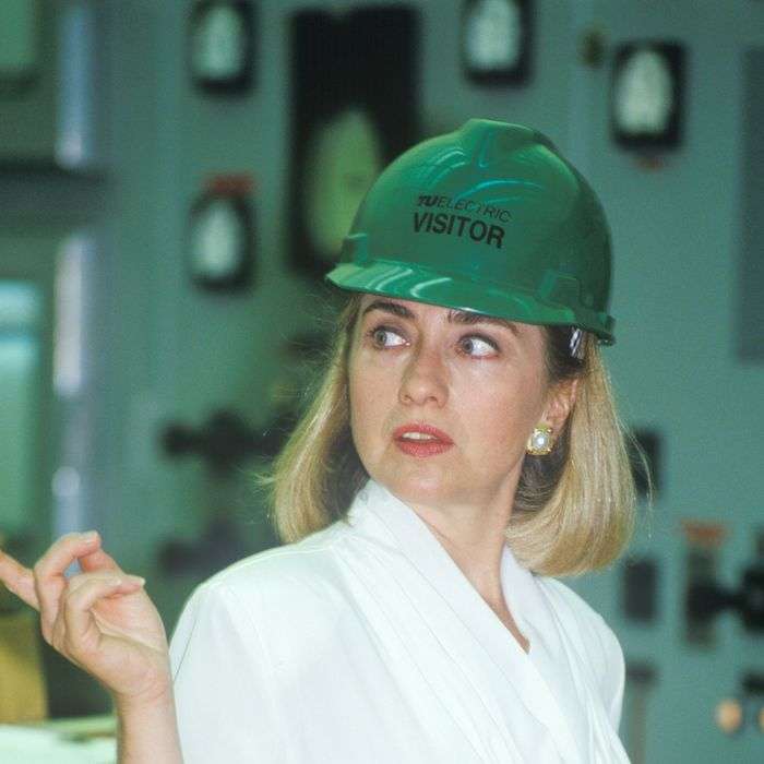 Hillary Rodham Clinton meets with workers at an electric station on the 1992 Buscapade campaign tour in Waco, Texas