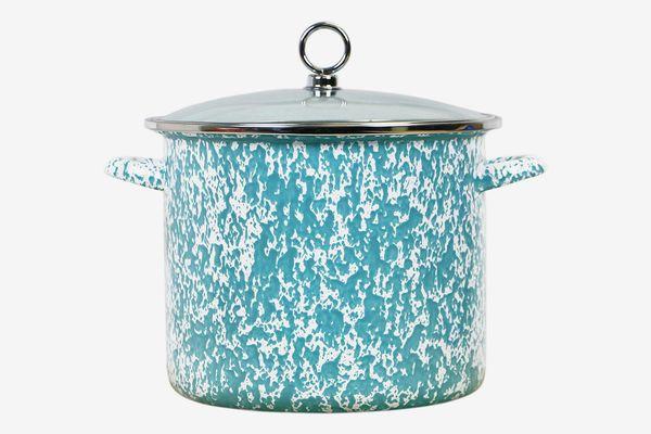 Calypso Basics by Reston Lloyd Vintage Marble Enamel on Steel Stockpot With Glass Lid, 8-Quart, Turquoise