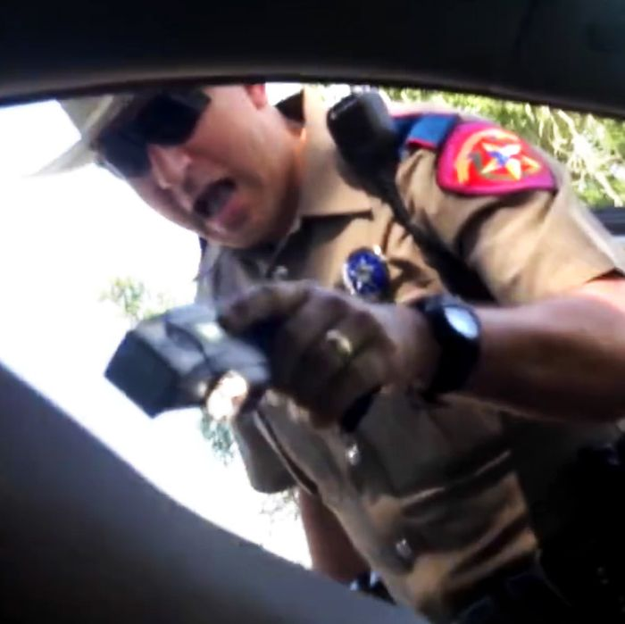 Brian Encinia, a former trooper with the Texas Department of Safety, confronting Sandra Bland at a traffic stop.