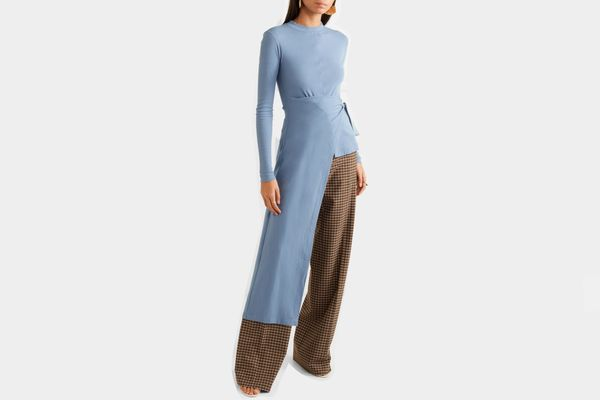 Rosetta Getty Asymmetric wrap stretch-cotton jersey top