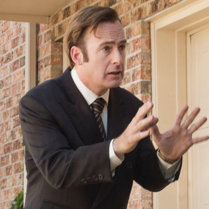 Bob Odenkirk as Saul Goodman and Rhea Seehorn as Kim - Better Call Saul _ Season 1, Episode 3 - Photo Credit: Ursula Coyote/AMC