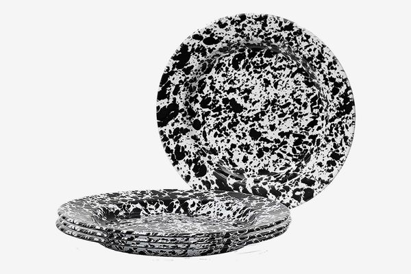 Crow Canyon Home Enamelware Dinner Plate, Black/White Splatter (Set of 4)