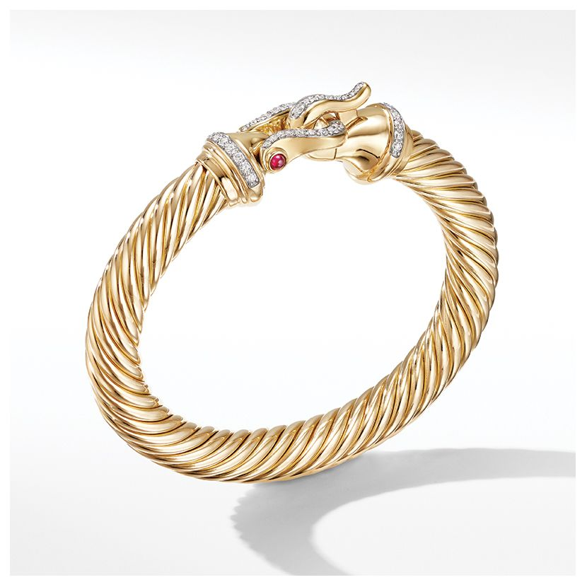 Cable Buckle Bracelet in 18K Yellow Gold with Diamonds and Rubies