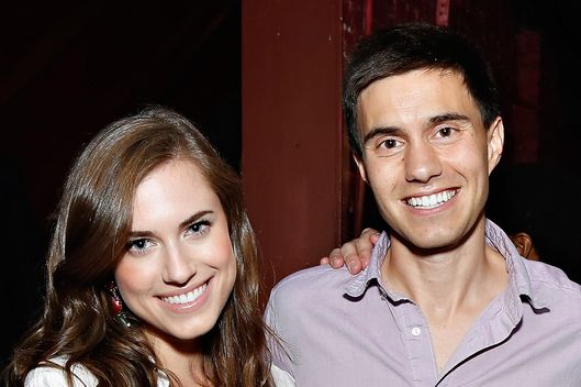 Allison Williams, Ricky Van Veen and Jake Hurwitz attends CollegeHumor Offline Annual Production at Gramercy Theatre on August 8, 2013 in New York City.