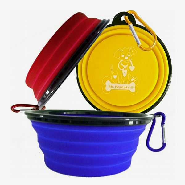 Mr. Peanut's Collapsible Dog Bowls With Color Matched Carabiner Clips