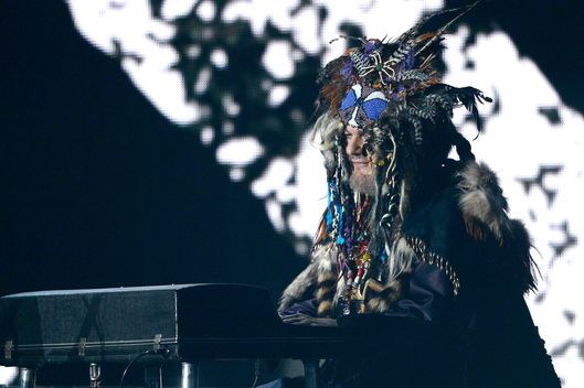 LOS ANGELES, CA - FEBRUARY 10:  Musician Dr. John performs onstage at the 55th Annual GRAMMY Awards at Staples Center on February 10, 2013 in Los Angeles, California.  (Photo by Kevork Djansezian/Getty Images)