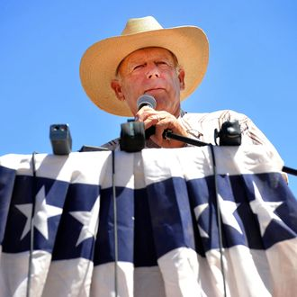 Rancher Cliven Bundy speaks during a news conference near his ranch on April 24, 2014 in Bunkerville, Nevada.