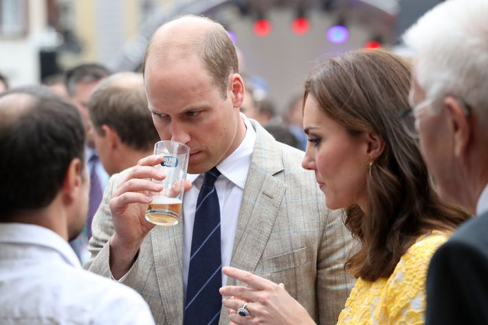 Prince William smelling beer (with Kate Middleton).