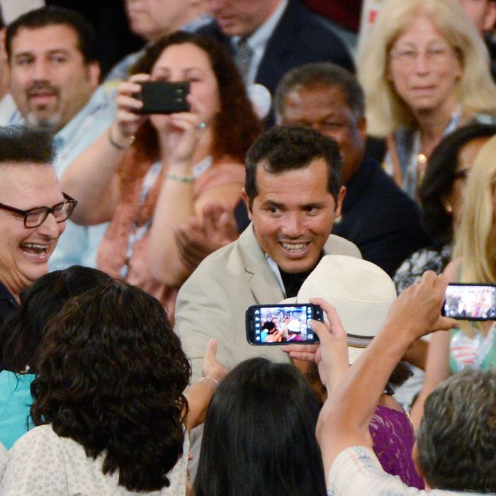 CHARLOTTE, NC - SEPTEMBER 04: Actor John Leguizamo (C) and Wayne Knight attend day one of the Democratic National Convention at Time Warner Cable Arena on September 4, 2012 in Charlotte, North Carolina. The DNC that will run through September 7, will nominate U.S. President Barack Obama as the Democratic presidential candidate. (Photo by Kevork Djansezian/Getty Images)