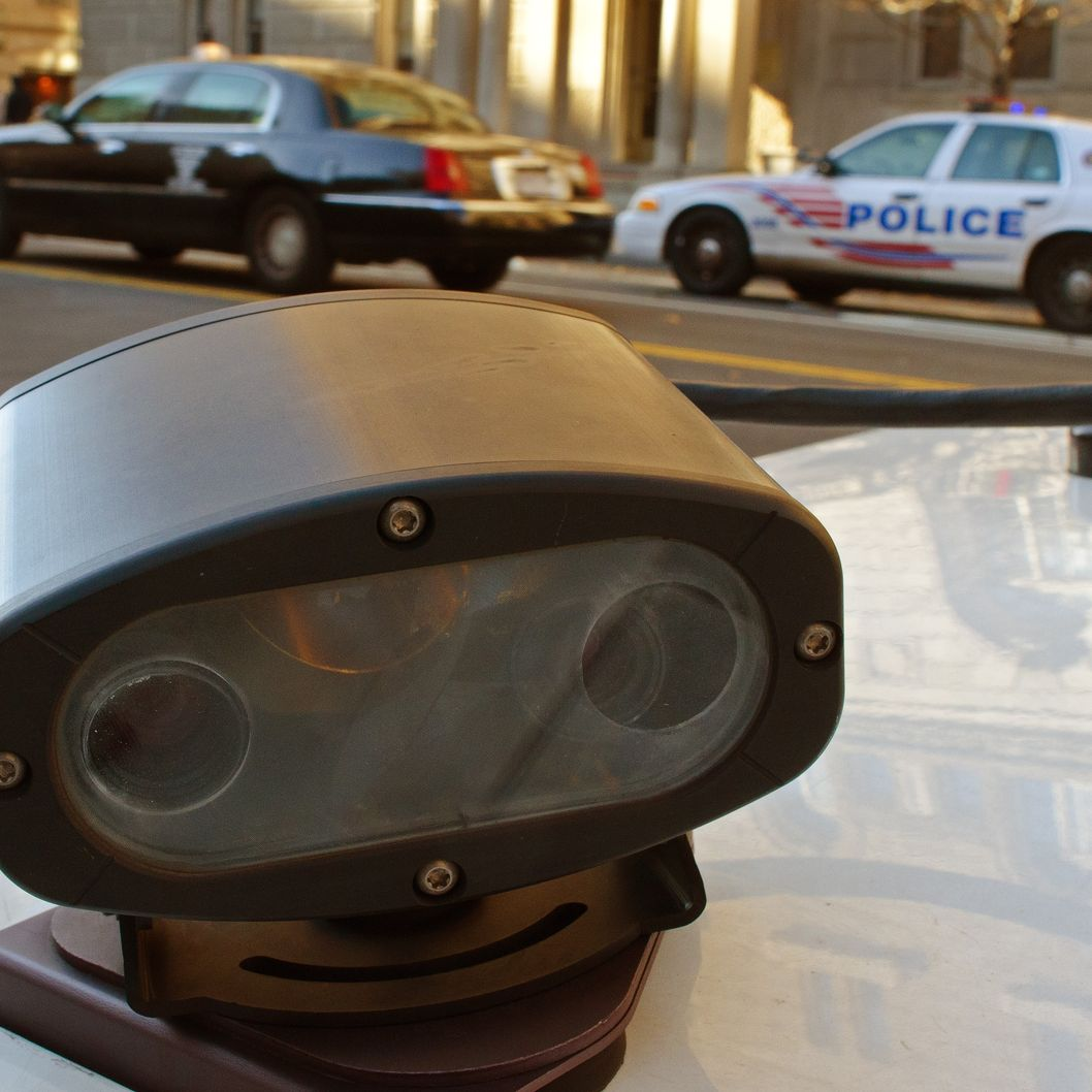 "A ""License Plate Reader"" or LPR, one of two mounted on the trunk of a Metropolotian Police Department(MPD) is seen on a police car in Washington, DC, December 1, 2011. It works silently in the backround automatically recording automobile license plates that drive by and then rapidly checks a computer database of stolen or wanted cars. Hundreds of MPD police cars have the cameras forming a virtual net looking for stolen vehicles.       AFP Photo/Paul J. Richards (Photo credit should read PAUL J. RICHARDS/AFP/Getty Images)"