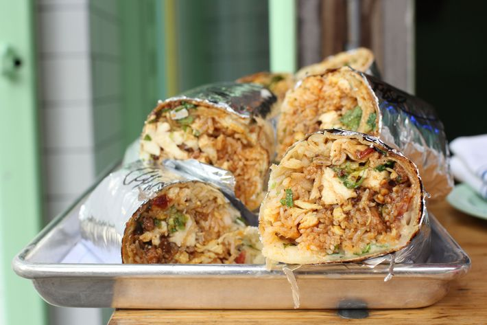 The Mission Chinese burrito, with mapo tofu and salt-cod fried rice.