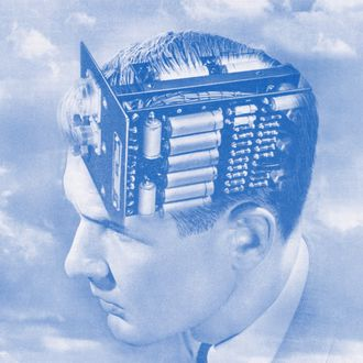 Creative engineering, vintage illustration of the head of a man with an electronic circuit board for a brain, 1949. Screen print. (Illustration by GraphicaArtis/Getty Images)