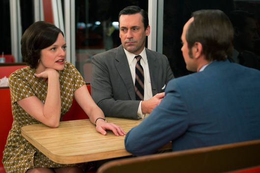 Elisabeth Moss as Peggy Olson, Jon Hamm as Don Draper and Vincent Kartheiser as Pete Campbell - Mad Men _ Season 7, Episode 6 - Photo Credit; Justina Mintz/AMC