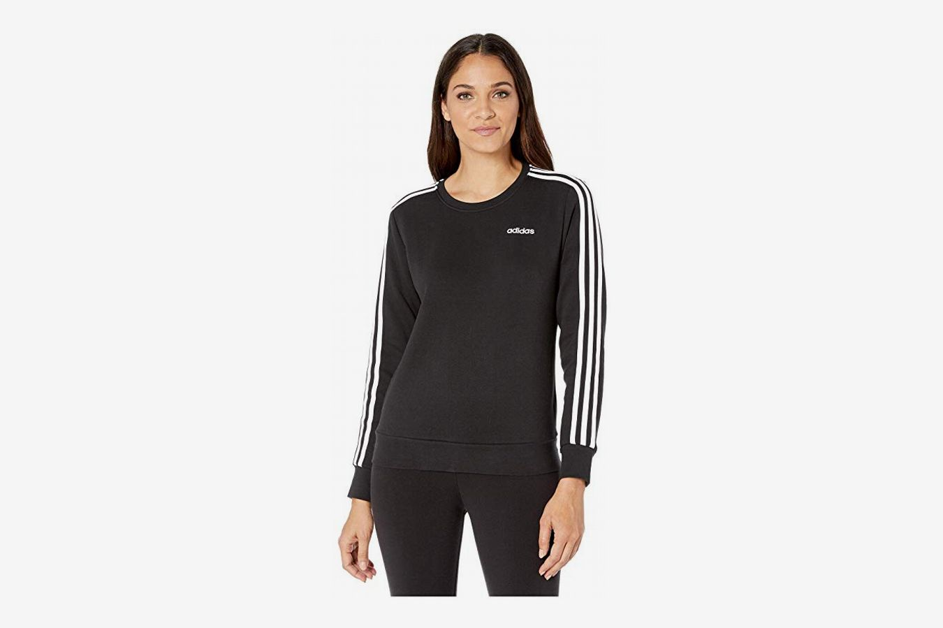 adidas Essential 3 Stripes Fleece Crew Sweatshirt