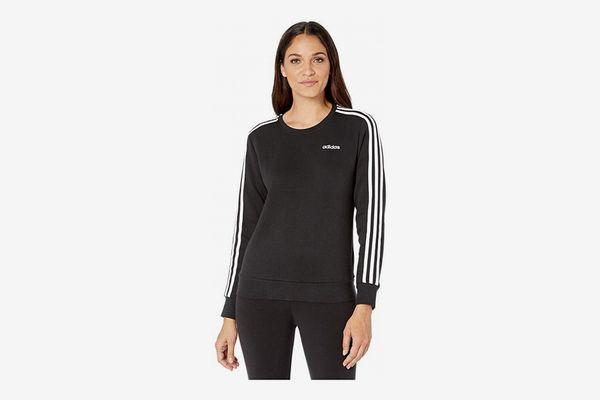 adidas Essential 3 Stripes Fleece Crew Sweatshirt