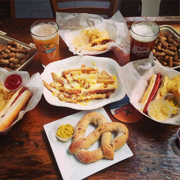A typical spread at the recently opened Bronx Beer Hall.