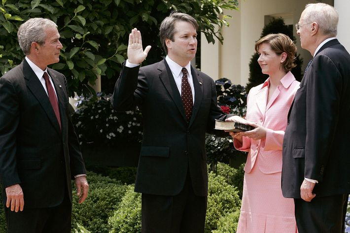 Brett Kavanaugh is sworn in by Supreme Court Justice Anthony Kennedy to be a judge to the U.S. Circuit Court of Appeals for the District of Columbia.