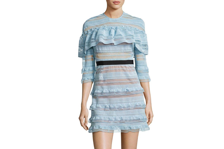 Self-Portrait Grid-Stripe Frill 3/4-Sleeve Mini Dress, Light Blue
