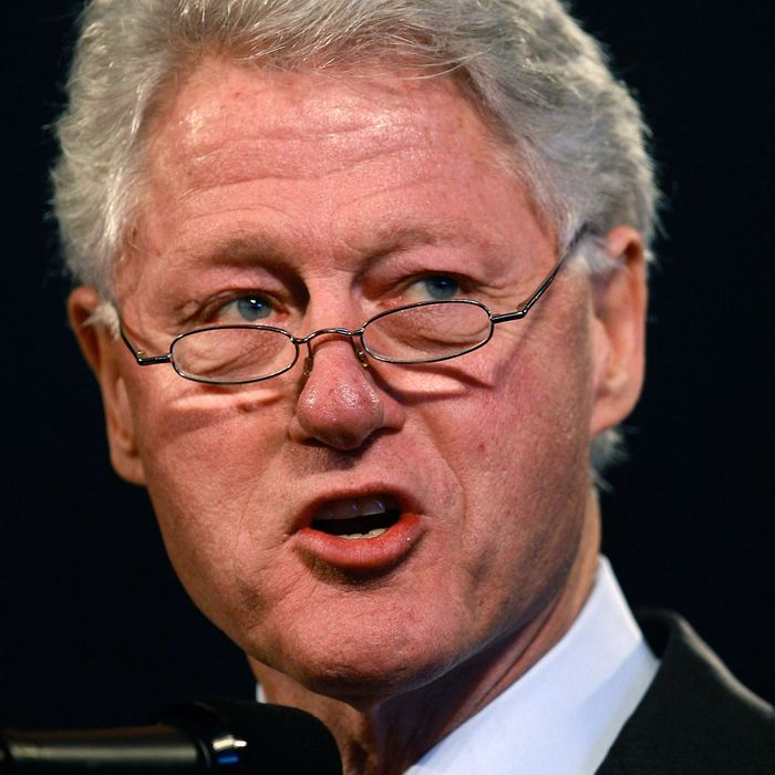 Former President Bill Clinton address the crowd gathered for the grand opening of the Illinois Holocaust Museum & Education Center April 19, 2009 in Skokie, Illinois. The 65,000 square-foot museum is the largest in the Midwest dedicated to the Holocaust.