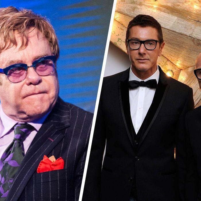 Elton John; Stefano Gabbana and Domenico Dolce.