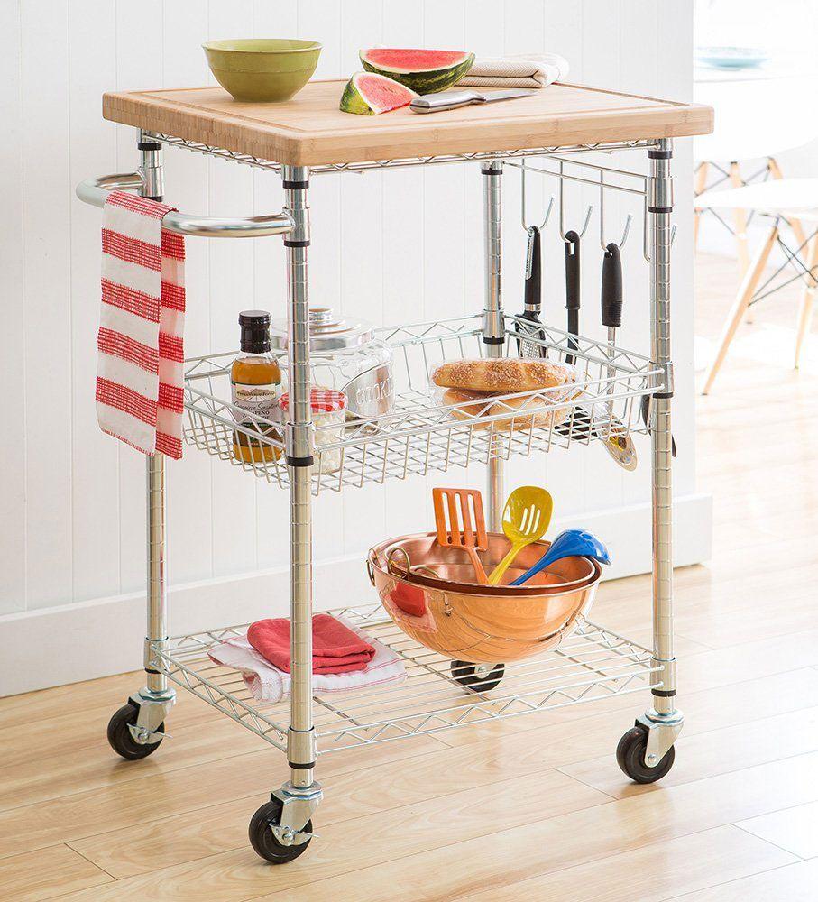 TRINITY EcoStorage Bamboo Kitchen Cart
