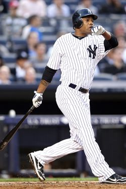 NEW YORK, NY - JUNE 25:  Dewayne Wise #45 of the New York Yankees watches his two run homer against the Cleveland Indians on June 25, 2012 at Yankee Stadium in the Bronx borough of New York City.  (Photo by Elsa/Getty Images)