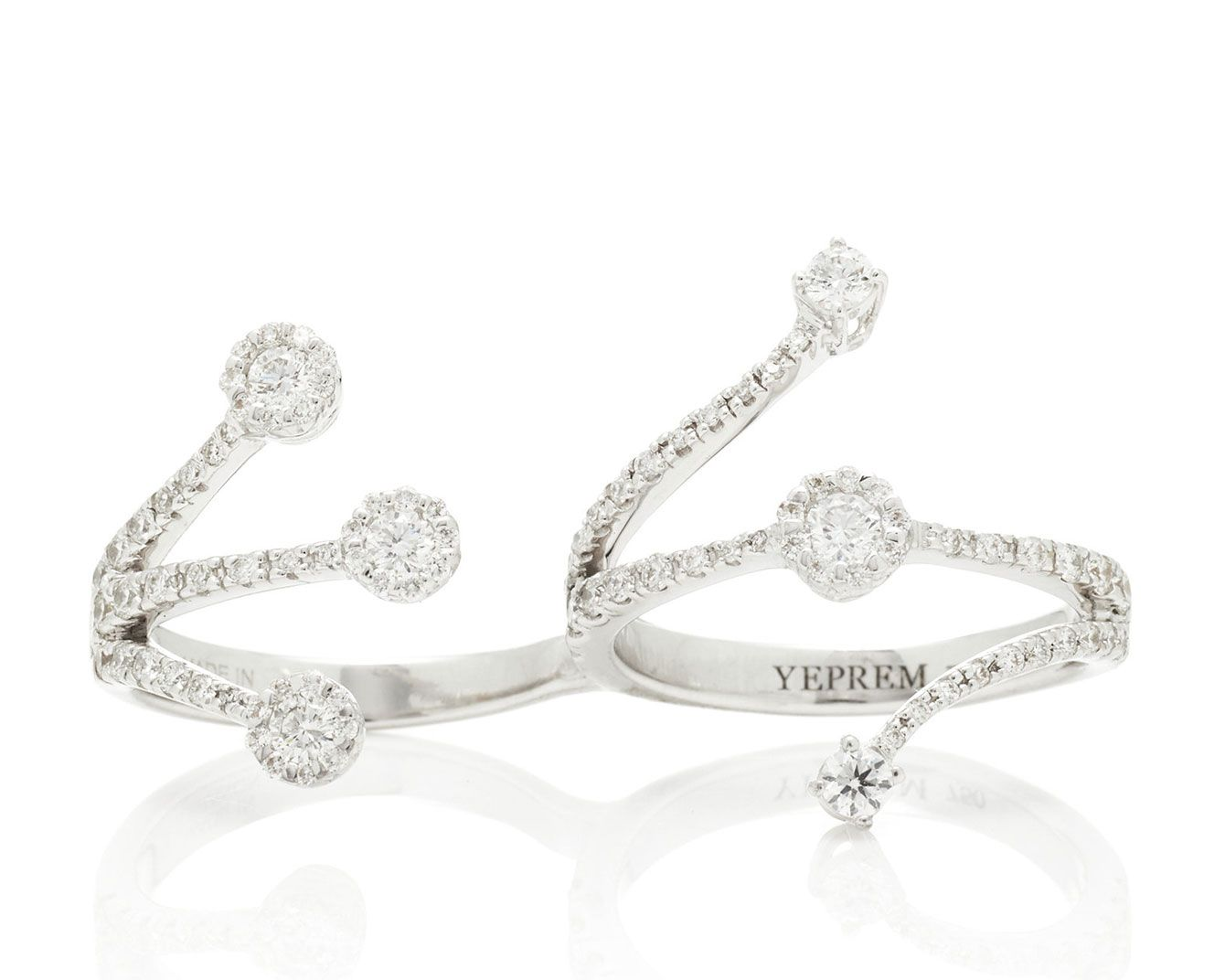 Yeprem Wrapped 18K White Gold And Diamond Two-Finger Ring
