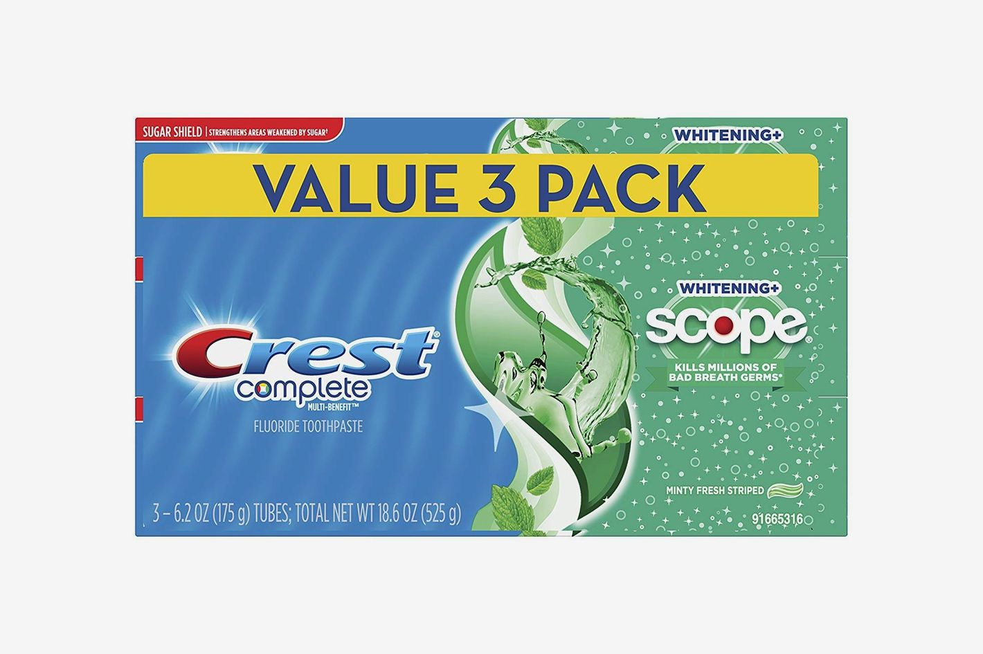 Crest Complete Whitening + Scope Toothpaste, Minty Fresh, 6.2 oz Triple Pack