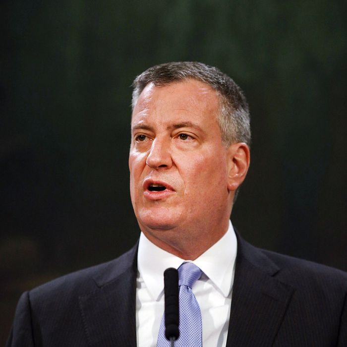 New York City Mayor Bill de Blasio speaks at a news conference about street fatalities on January 16, 2014 in New York City. In the wake of a series of recent pedestrian fatalities, the mayor announced today the