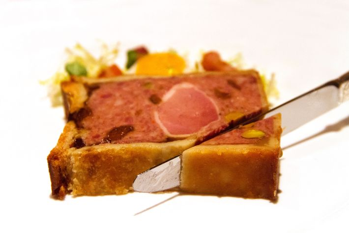 Terrine de foie gras with winter-fruit confiture.