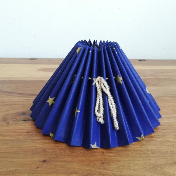 Blue Pleated Lampshade With Gold Stars
