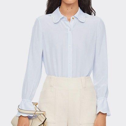 womens tory burch white scallop edge longsleeve shirt