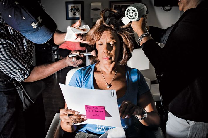 Gayle King, in the makeup chair at 5:23 a.m.