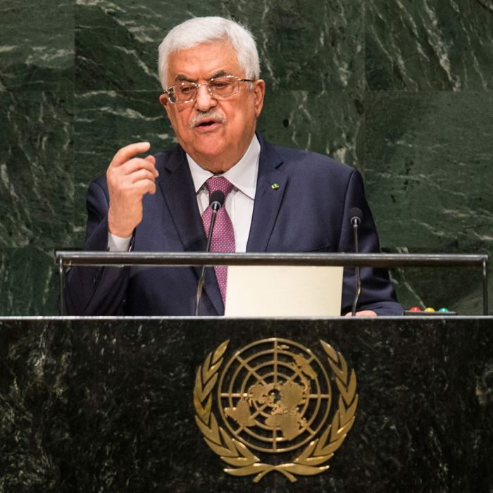 President of the State of Palestine Mahmoud Abbas speaks at the 69th United Nations General Assembly on September 26, 2014 in New York City. The annual event brings political leaders from around the globe together to report on issues meet and look for solutions.