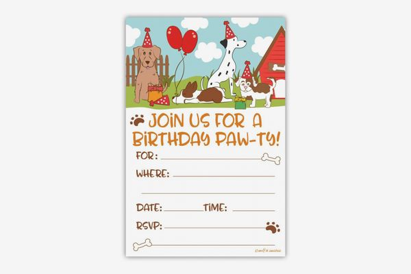 m&h Invites Puppy Dog Birthday Party Invitations With Envelopes, 20 Count