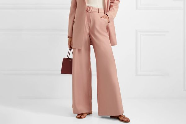 Anna Quan Max Belted Twill Wide Leg Pants