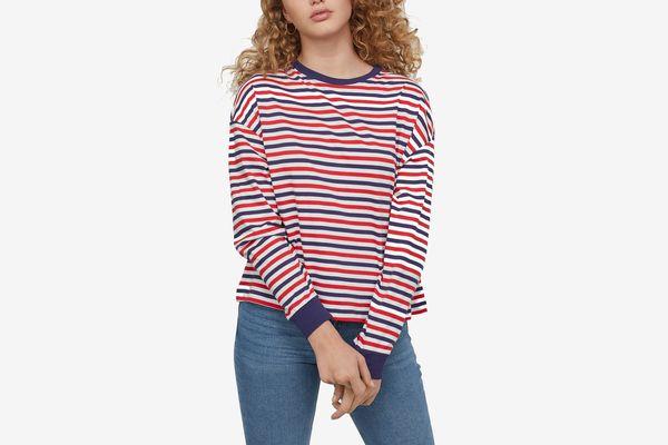 H&M Striped Jersey Top Red/Blue Striped