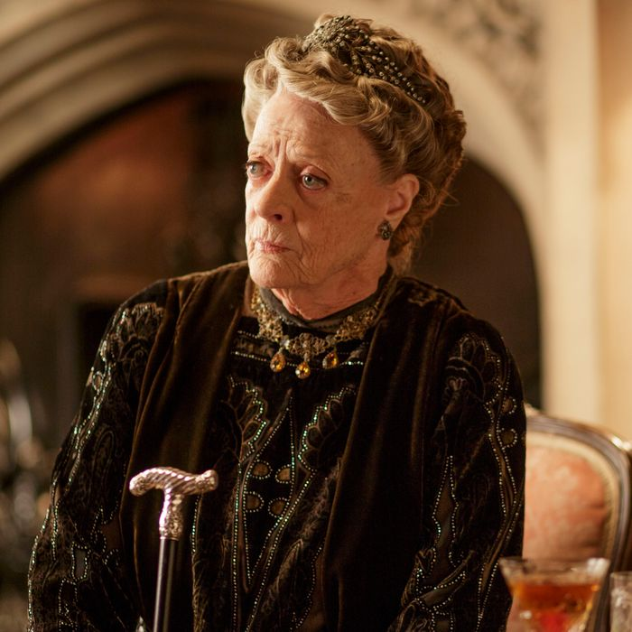 Downton Abbey Season 5 on MASTERPIECE on PBSPart FiveSunday, February 1, 2015 at 9pm ETRose makes a handsome new acquaintance. Something is wrong with Thomas. Edith's link toMarigold draws attention. Bricker and Robert lose control.Shown: Maggie Smith as Violet, Dowager Countess of Grantham(C) Nick Briggs/Carnival Films 2014 for MASTERPIECEThis image may be used only in the direct promotion of MASTERPIECE CLASSIC. No other rights are granted. All rights are reserved. Editorial use only. USE ON THIRD PARTY SITES SUCH AS FACEBOOK AND TWITTER IS NOT ALLOWED.