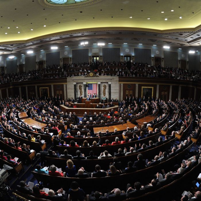 US President Barack Obama delivers the State of the Union address before a joint session of Congress on January 28, 2014 at the US Capitol in Washington. AFP PHOTO/Jewel Samad (Photo credit should read JEWEL SAMAD/AFP/Getty Images)