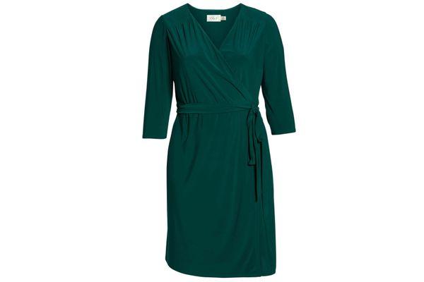 Eliza J Smocked Shoulder Wrap Dress
