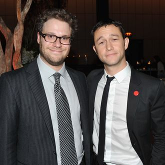 NEW YORK, NY - SEPTEMBER 26: Seth Rogen and Joseph Gordon-Levitt attend the after party for the premiere of