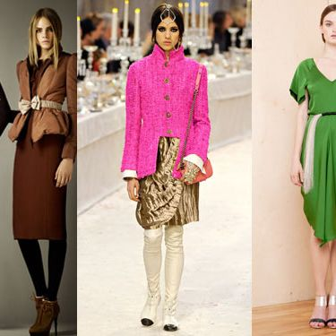 From left: new pre-fall looks from Burberry, Chanel, and Zero + Maria Cornejo.