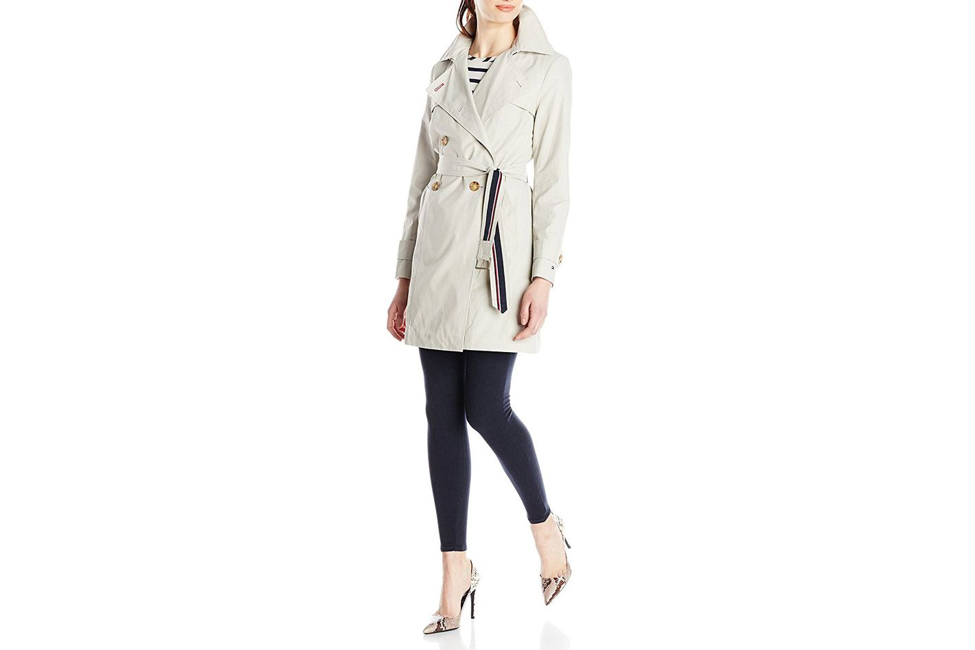 Tommy Hilfiger double-breasted trench coat with striped belt